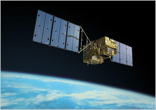 Concepción artística del satélite en órbita - JAXA