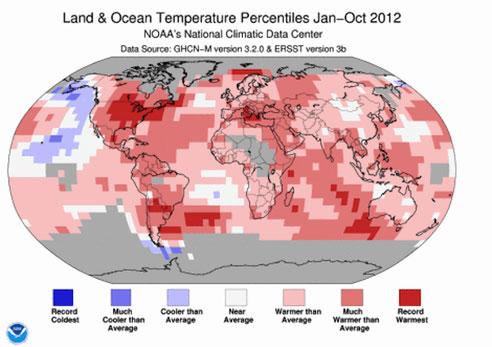 Percentiles de temperatura en 2012 - NOAA