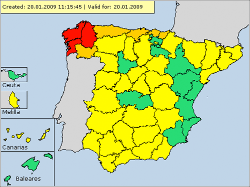 Meteoalarm España, 20 enero 2009