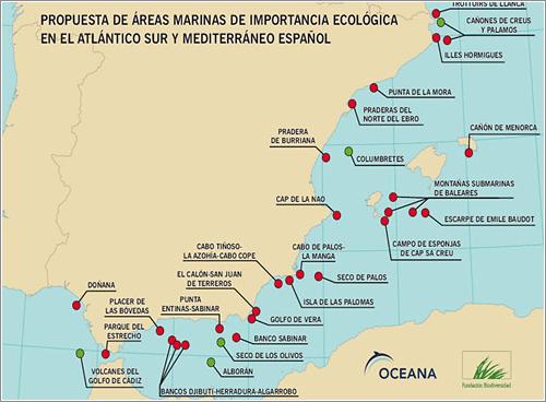 Mapa de áreas marina de Importancia que requieren proteccion