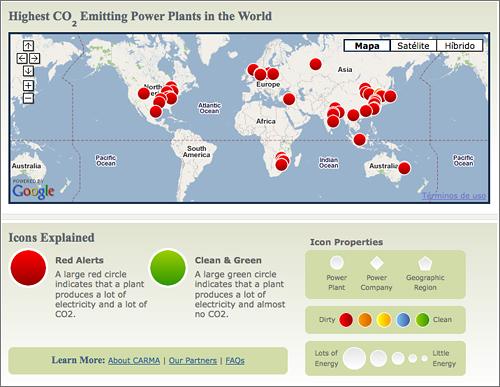 Carma - Mapa Plantas Emisioras CO2