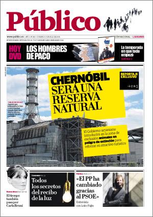 Chernobil como Reserva Natural / portada del diario Público