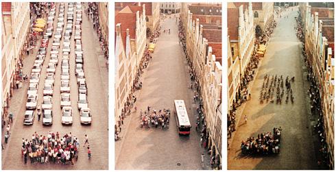 Coche, Bus, Bici / Foto: Oficina de Prensa, Departamento de Planificación Urbana de la Ciudad de Münster (Alemania), Agosto 2001