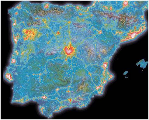 Mapa contaminación lumínica Península Ibérica