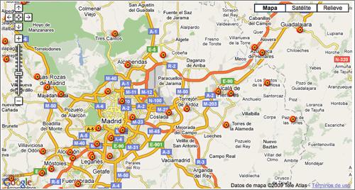 Mapa de puntos limpios en España con Google Maps