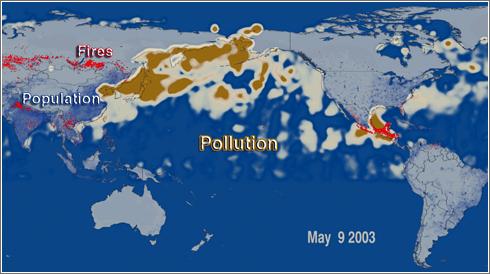 Movimiento de nubes de partículas de contaminacion