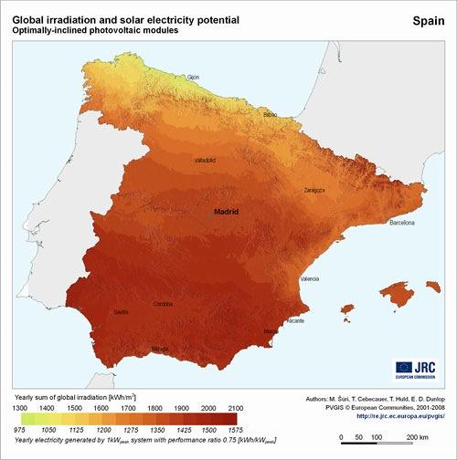 Mapa Del Potencial De Electricidad Fotovoltaica Por Paises