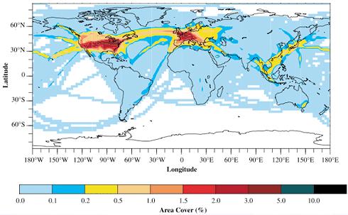 Zonas mayor presencia de estelas de avión