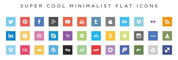Iconos Sociales -- Super cool minimalist flat icons by Jorge Calvo