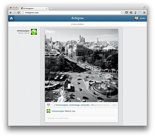 Interfaz web Instagram