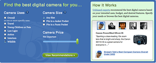 Recomendador de cámaras de consumo