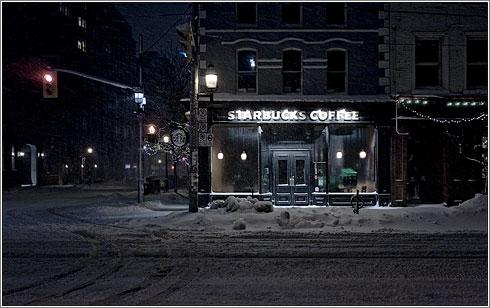 Starbucks Snow © Sam Javanrouh