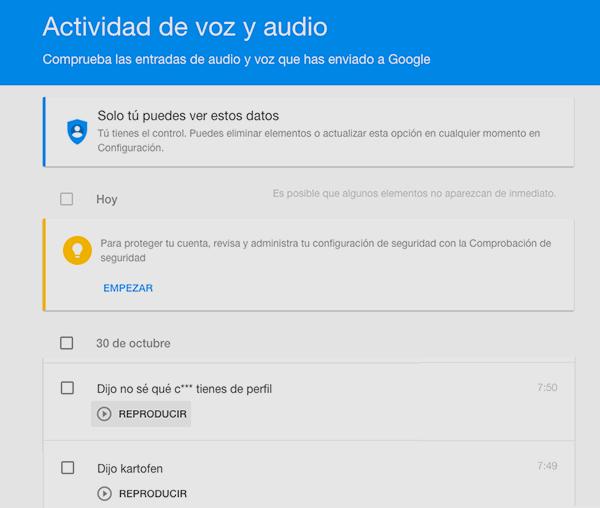 Google: Actividad de voz y audio