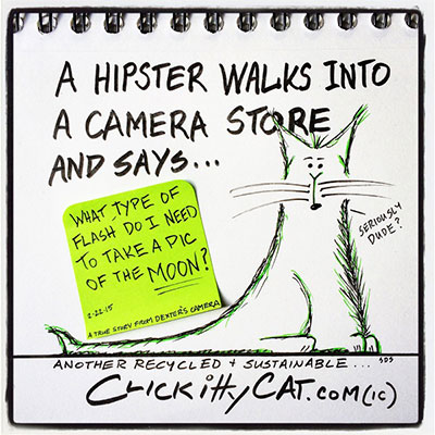 Hipster walks camera store