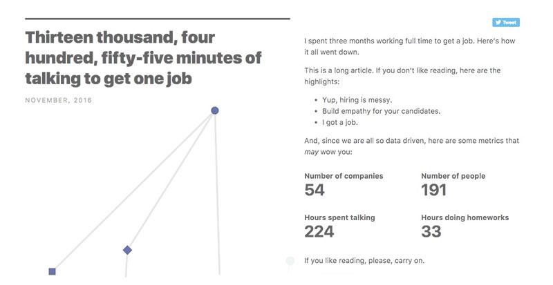 224 horas de conversaciones para conseguir un trabajo (de CTO)