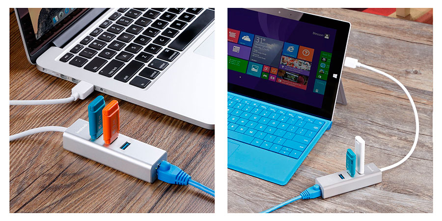 Hub USB + Ethernet