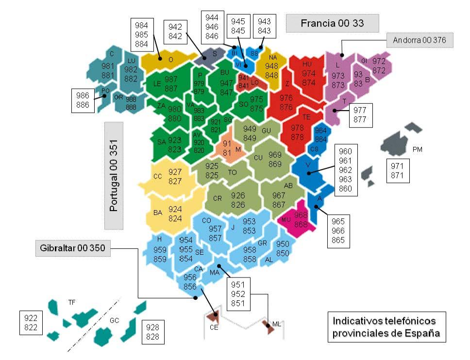 Mapa Nueva Numeración Telefónica España