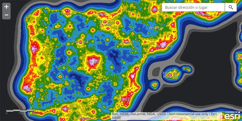 Nuevo mapa de la contaminación lumínica