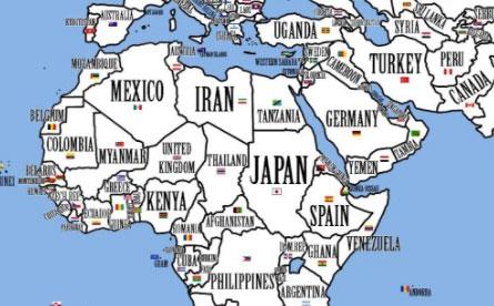 Los países del mundo con la población reorganizada