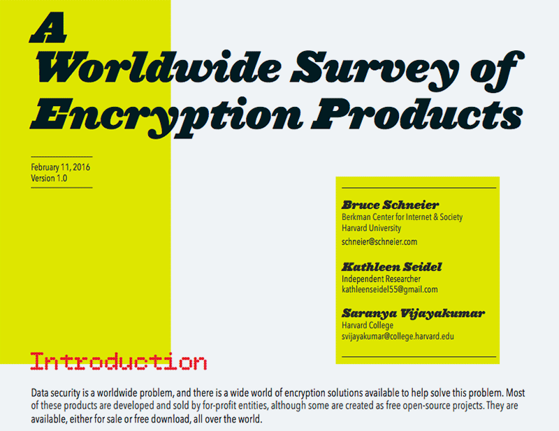 A Worldwide Survey of Encryption Products (2016)