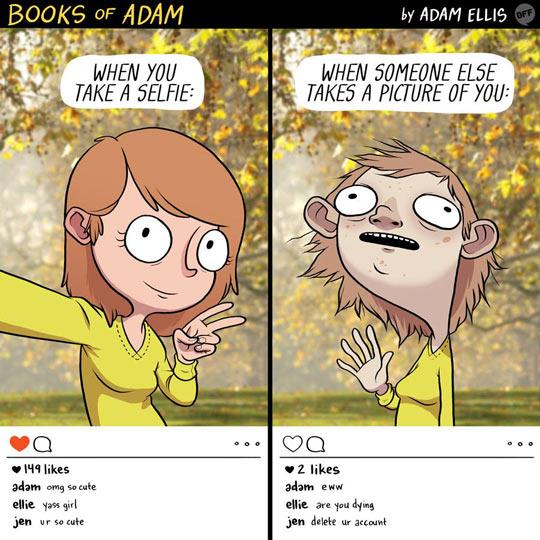 Funny taking selfie girl vs group photo