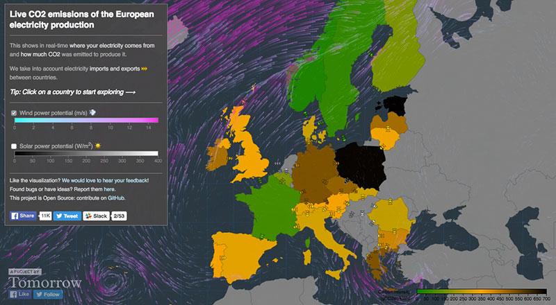 Mapa co2 electricidad
