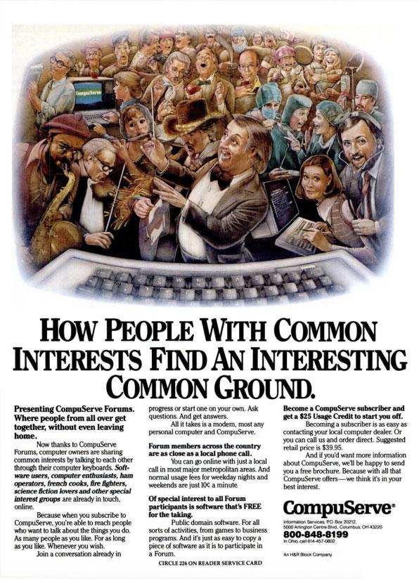 Anuncio de los foros de CompuServe