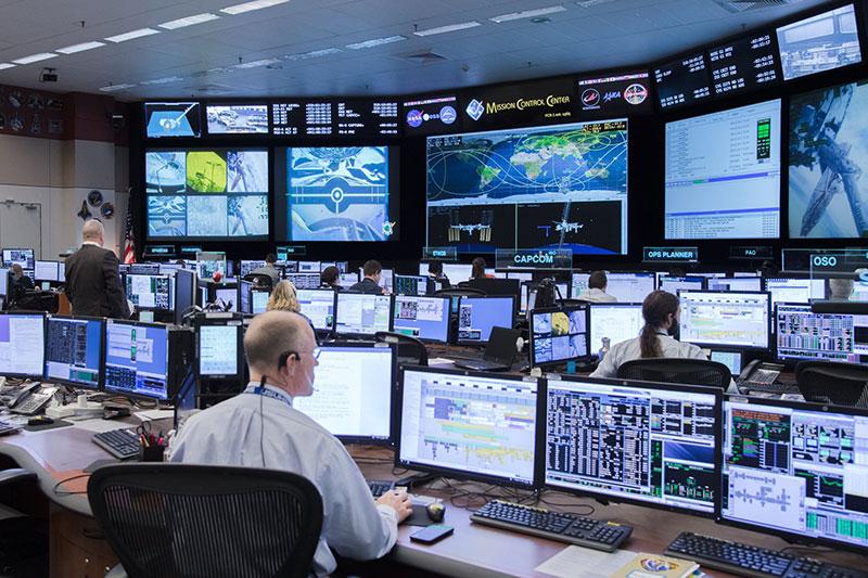 La sala de control en tierra