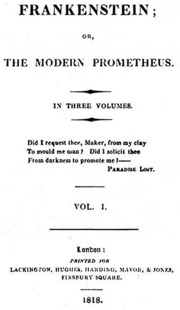 Edición de 1818 de Frankenstein