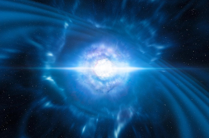 Impresión artística de la fusión de dos estrellas de neutrones