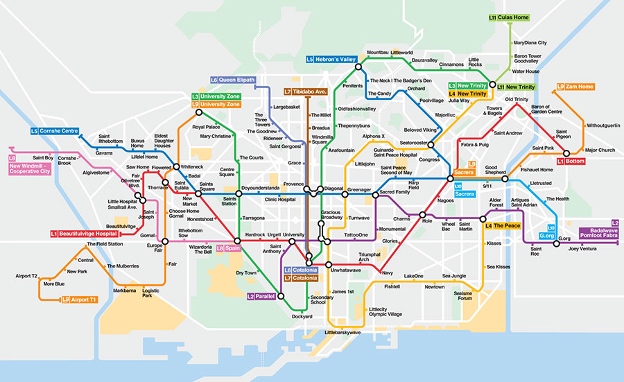 Mapa del Metro de Barcelona «para guiris», versión traducción literal