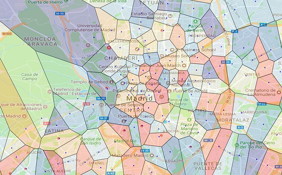 Un diagrama de Madrid en función de las estaciones de Metro más cercanas