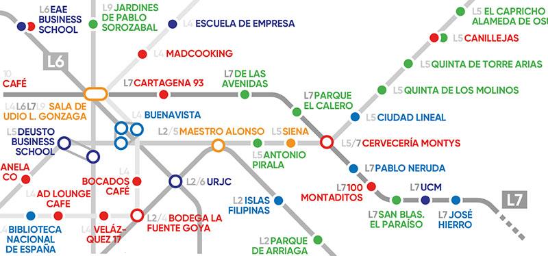 El mapa del metro con los mejores rincones para estudiar en Madrid