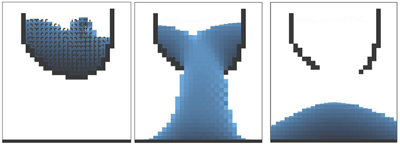 Un simulador de líquidos 2D y leyes físicas