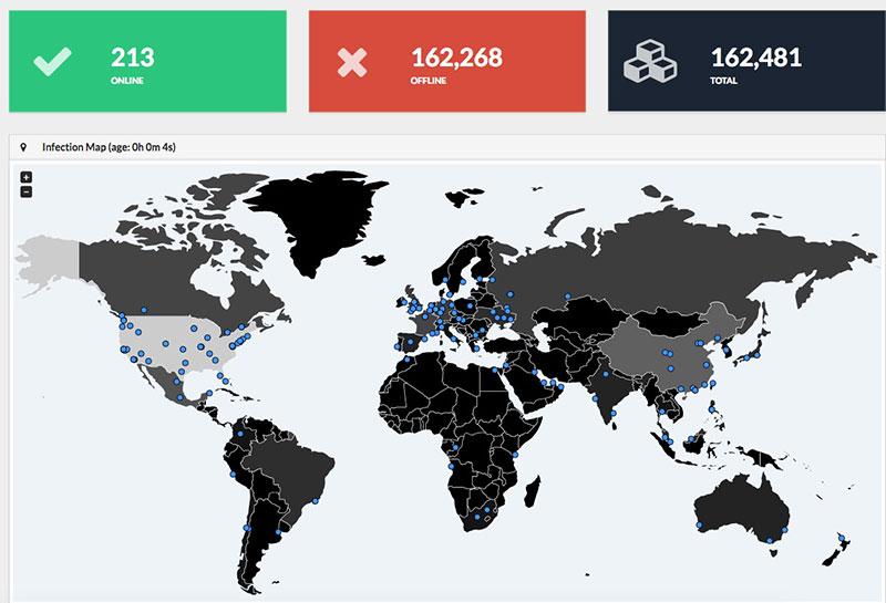Un mapa de los ataques de WannaCry en tiempo real