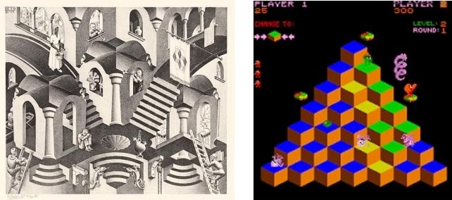 Y el videojuego encontró a Escher / Jotdown.es / Convexo y cóncavo (1955), Q*Bert (1982)