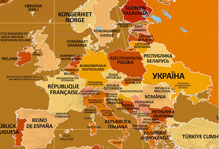 Endonym world map