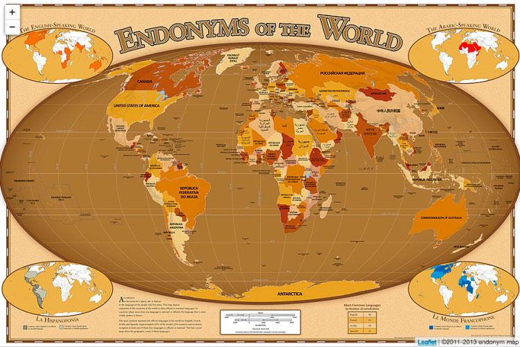 Endonym world map