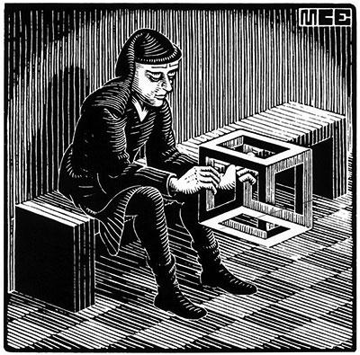 Un cubo imposible de Escher que no es tan imposible
