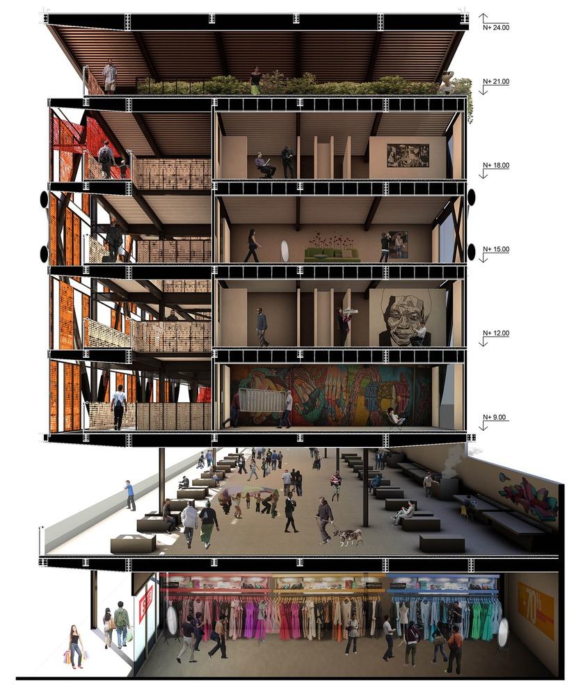 Secciones en perspectiva de la arquitectura moderna