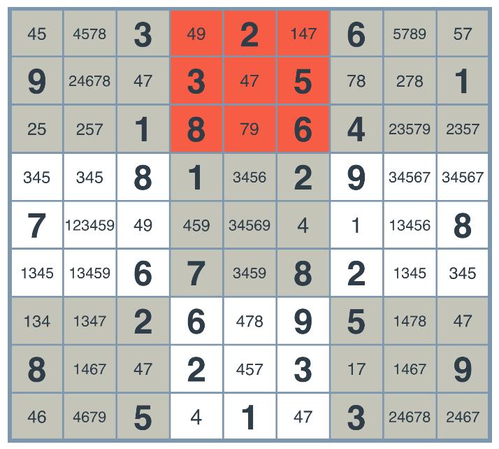 Sudoku constraint propagation