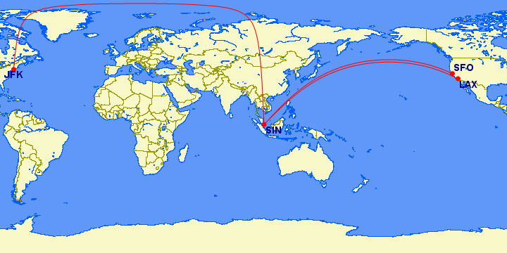 Primeras rutas previstas por Singapore para el A350 ULR