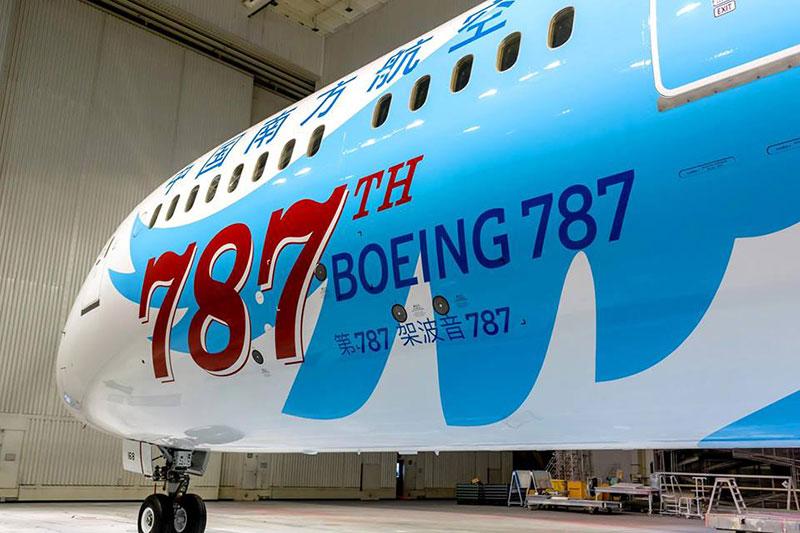 Detalle del Boeing 787 número 787