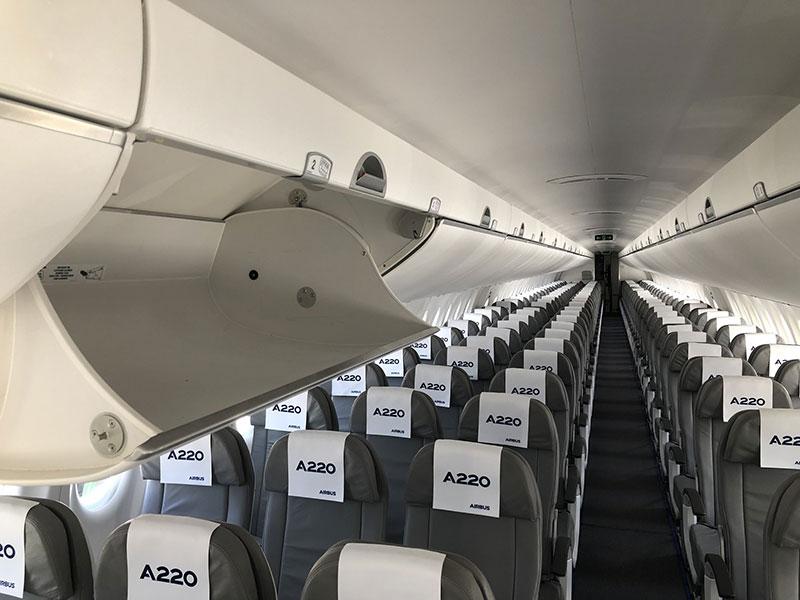 Aquí van los pasajeros en filas de three + 2