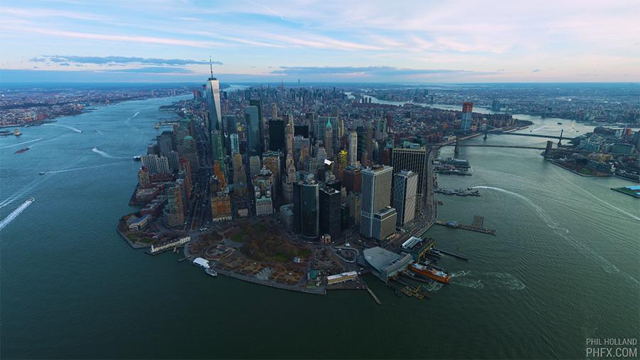 Nueva York a vista de pájaro filmado a 12K (~100 megapíxeles)