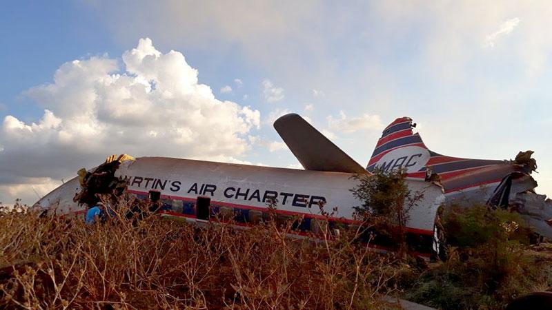 Los restos del avión