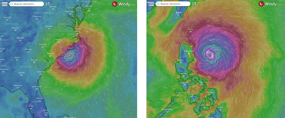 Florence vs. Mangkhut / Windy.com