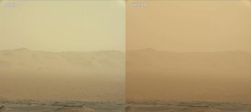 Polvo en el cielo de Marte visto por Curiosity