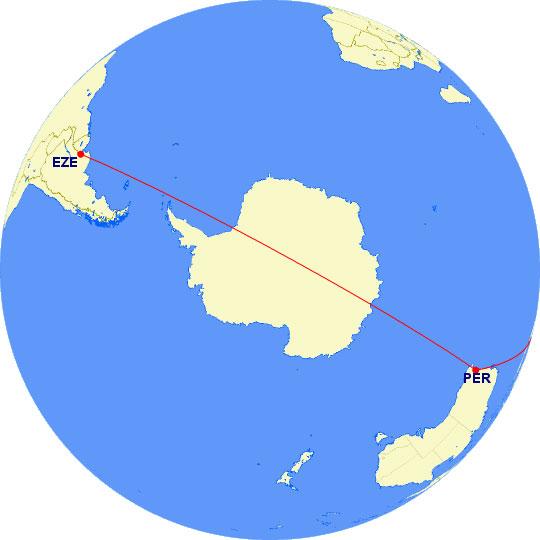 Buenos Aires - Perth - Singapur en proyección polar