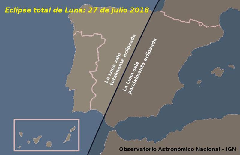 Eclipse de Luna de julio de 2018 en España